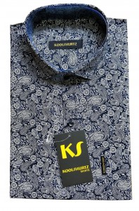 Formal Indigo Paisley Half Sleeves Shirt